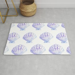 Mermaid Off Duty - Purple & Blue Seashell Rug