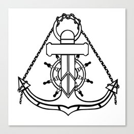 Anchor and Steering Helm [Outline] Canvas Print