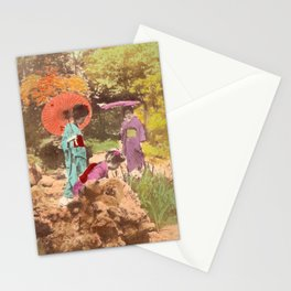 Geisha in the garden Stationery Cards