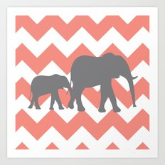 Chevron Elephants Art Print