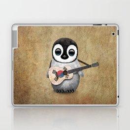 Baby Penguin Playing South Korean Flag Guitar Laptop & iPad Skin