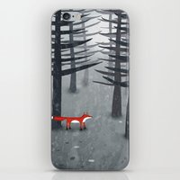 gray iPhone & iPod Skins featuring The Fox and the Forest by Nic Squirrell