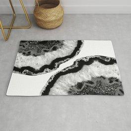 Gray Black White Agate Glitter Glamor #2 #gem #decor #art #society6 Rug