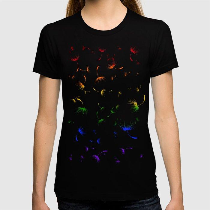 Dandelion Seeds Gay Pride (white background) T-shirt
