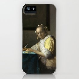 A Lady Writing Oil Painting by Johannes Vermeer iPhone Case