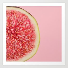 Macro photo of half figs on a pink background. Art Print