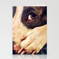 pitbull Stationery Cards featuring Pitbull profile by LeeAnnPoling