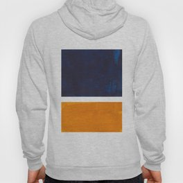 Navy Blue Yellow Ochre Abstract Minimalist Rothko Colorful Mid Century Color Block Pattern Hoody
