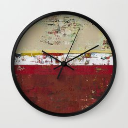 Buffalo Indian Red Burgundy Modern Abstract Art Wall Clock