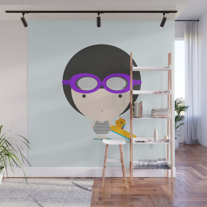 Swimming with unicorn Wall Mural