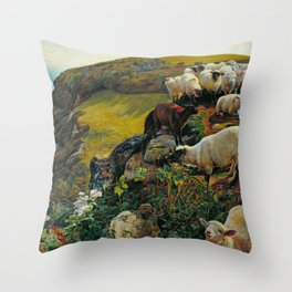 "William Holman Hunt ""Our English Coasts (Strayed Sheep)"" Throw Pillow"