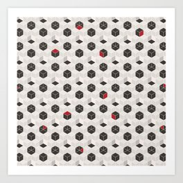 Beige Cubes Art Print