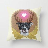 pitbull Throw Pillows featuring Jaggermeister - pitbull by PaperTigress