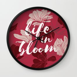 Life in bloom - crimson Wall Clock