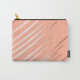 Sweet Life Swipes Peach Coral Shimmer Carry-All Pouch
