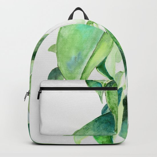 Ficus elastica watercolor hand painted art Backpack