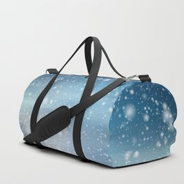 Snow Bokeh Blue Pattern Winter Snowing Abstract Duffle Bag