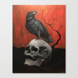 Raven on Skull Acrylic Painting Canvas Print