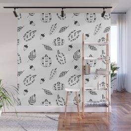 Hand drawn black white tribal geometrical pumpkin floral Wall Mural