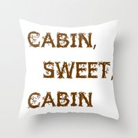 cabin Throw Pillows featuring Cabin, Sweet, Cabin by PhotoVista360