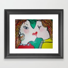 Valentine's kiss Framed Art Print