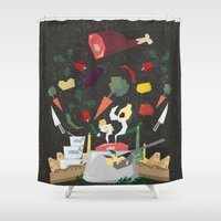 meat Shower Curtains featuring MEAT DİNNER by Ceren Aksu Dikenci