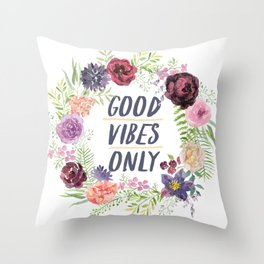 Wreath Good Vibes Only with purple flowers Throw Pillow