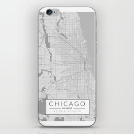 Chicago Map - Black and White (Light) iPhone Skin