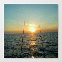 fishing Canvas Prints featuring FISHING by aztosaha