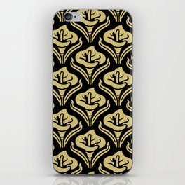 Calla Lily Pattern Black and Gold iPhone Skin