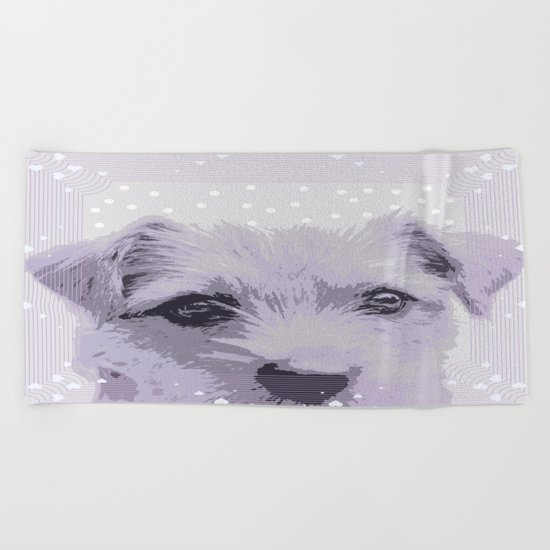 Curious little dog waiting for you - funny dog portrait Beach Towel