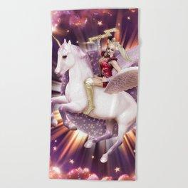 Andora: Drag Queen Riding a Unicorn Beach Towel