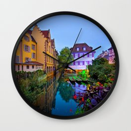 Picture France Colmar Canal Marinas Evening Cities Building Pier Berth Houses Wall Clock