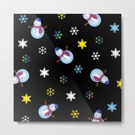 Snowflakes & Snowman_E Metal Print