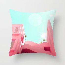 Pink Facade Moon Throw Pillow