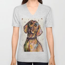 Hungarian Vizsla Dog Closeup Unisex V-Neck