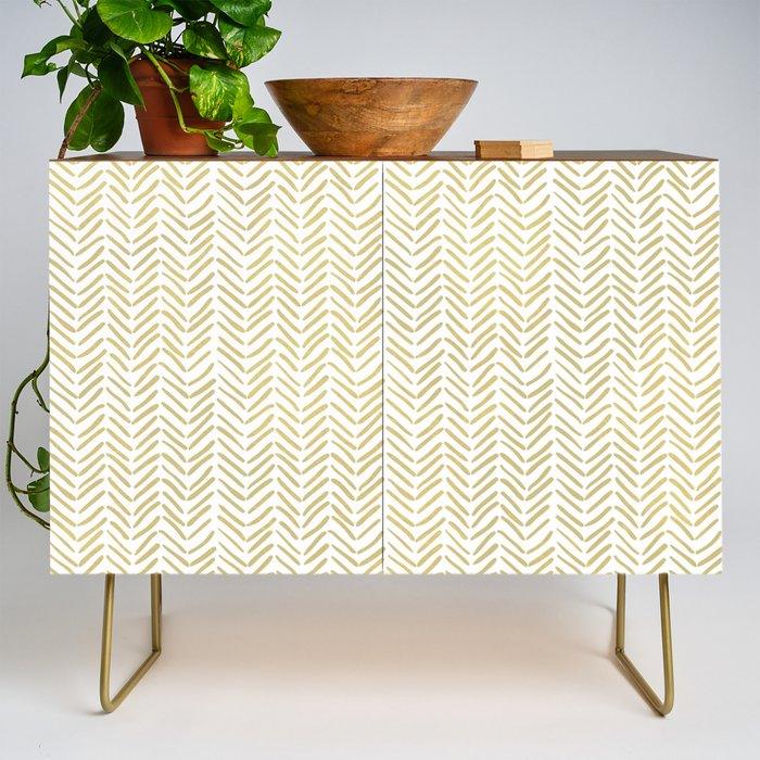 Handpainted_Chevron_Pattern__Gold_and_white_Credenza_by_The_Design_FactoryaC__Gold__Walnut