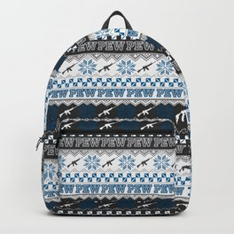 Pew Pew Gun Ugly Christmas Sweater Pattern Backpack