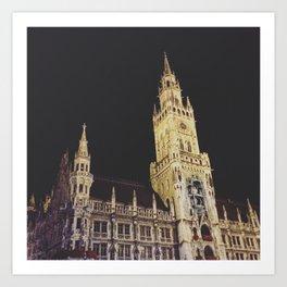 Marienplatz at Night Art Print
