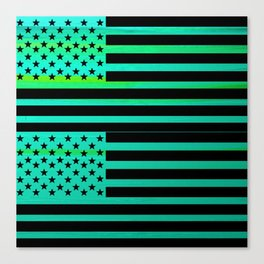 TURQUOISE and BLACK AMERICAN FLAG Canvas Print