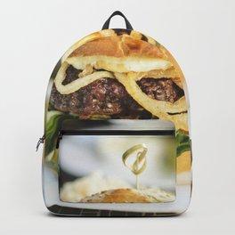 Juicy beef burger food photography Backpack