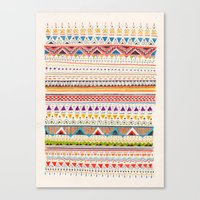 aztec Canvas Prints featuring Pattern by Sandra Dieckmann