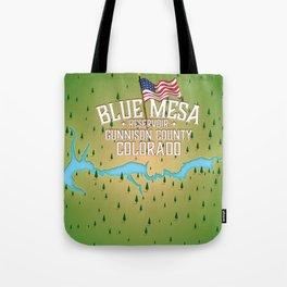 Blue Mesa Reservoir map travel poster. Tote Bag