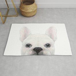 French bulldog white Dog illustration original painting print Rug