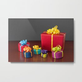 Bright Colored Christmas Gift Boxes with Paper Bows  Metal Print