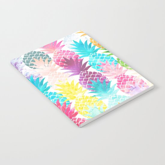 Hawaiian Pineapple Pattern Tropical Watercolor Notebook
