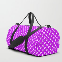 Tiny Paw Prints Pattern - Bright Magenta and White Duffle Bag