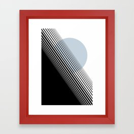 Rising Sun Minimal Japanese Abstract White Black Blue Framed Art Print