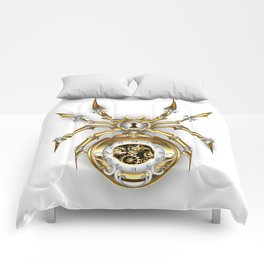 Spider with Clock ( Steampunk ) Comforters