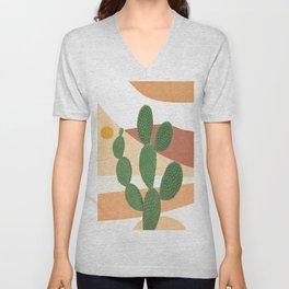 Abstract Cactus II Unisex V-Neck